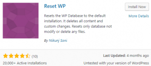 Reset Wp Plugin