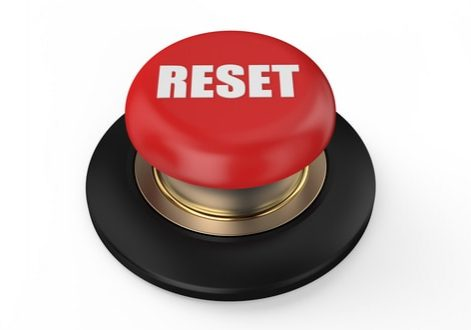 reset red  button isolated on white background